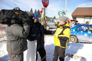 William Bacon is interviewed by the Speed Channel crew in Lewiston before the rally.