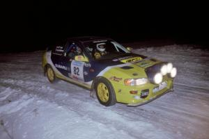 The Joan Hoskinson / Jeff Secor Subaru Impreza 2.5RS drifts through the first corner of the evening running of the ranch stage.