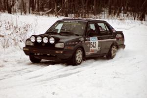 The Mike Merbach / Jeff Feldt VW Jetta exits a hard-right near the end of day two of the rally.