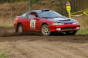 Cary Kendall / Scott Friberg Eagle Talon at the chicane at the Parkway Forest Road spectator point.