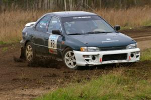 Mark Podoluch / Mariusz Malik Subaru Impreza at the Parkway Forest Rd. chicane.