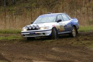 Mike Wray / John Nordlie Subaru Legacy Sport at the Parkway Forest Rd. chicane.