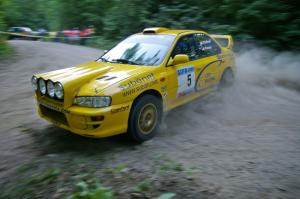 Lauchlin O'Sullivan / Scott Putnam Subaru Impreza were in top form at a hairpin on SS1.