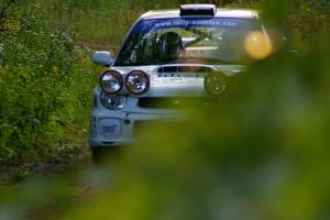 Fintan McCarthy / Noel Gallagher Subaru WRX STi rockets uphill on a fast section of SS2, Spur 2.