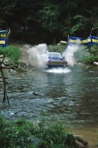Frank Cunningham / Emanuel Lopes VW Rabbit finishes SS1, Stony Crossing.