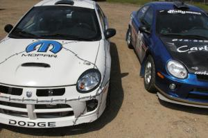 The Dodge SRT-4's of Paul Dunn / Kim Demotte and Cary Kendall / Scott Friberg in the parking lot prior to the start.