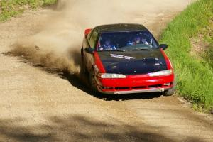 Steve Gingras / Nick Johannes at a fast sweeper on SS1 in their Mitsubishi Eclipse.