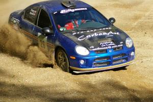 Cary Kendall / Scott Friberg Dodge SRT-4 made its rally debut at Headwaters. The car is seen here on SS1.