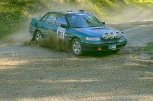 Erick Murray / Nicky Nelson Subaru Legacy Sport on SS1. They were an early DNF.